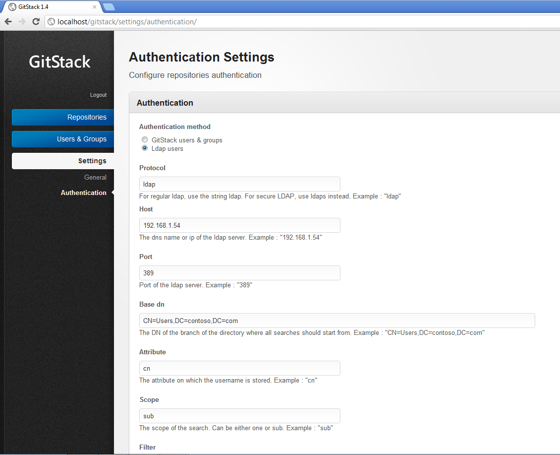Git and Active Directory / Ldap authentication | GitStack